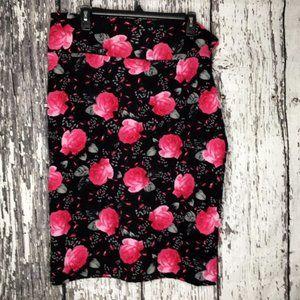 Black LulaRoe Skirt with Pink Roses 3XL